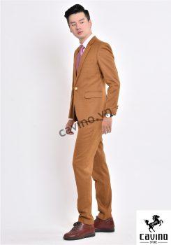 bộ vest vàng caro mờ