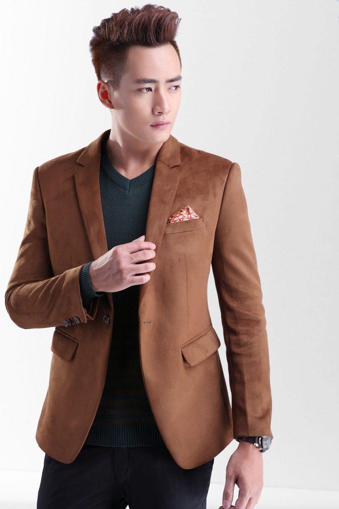 áo vest nhung màu nâu