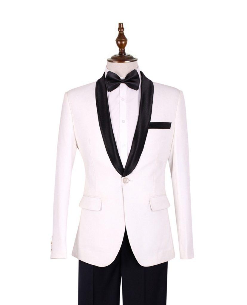 Áo vest nam trắng cổ sam đen