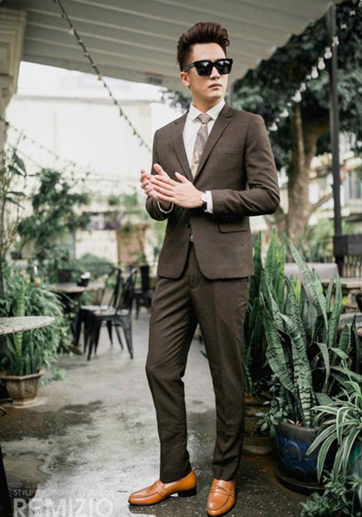 bộ vest nam lông cừu màu nâu cafe