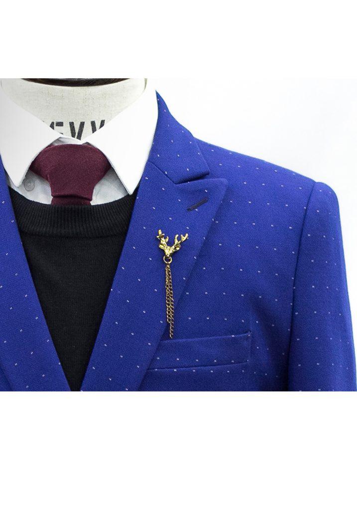 Bộ Vest Xanh Chấm Bi Chéo Vạt