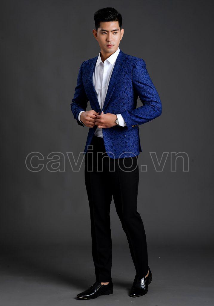 Áo vest nam xanh hoa văn