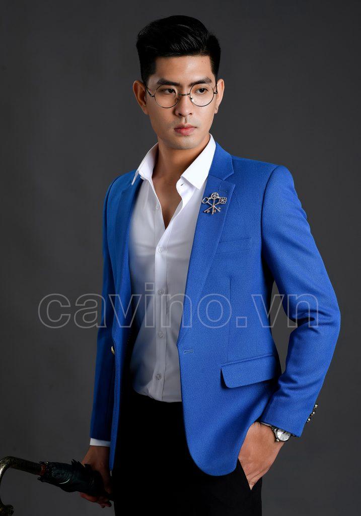 Áo vest nam màu xanh lơ