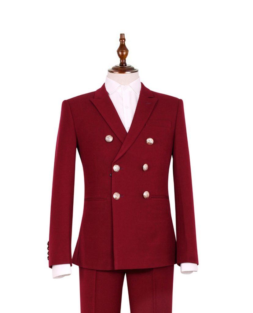 bộ vest đỏ đô 2 hàng khuy