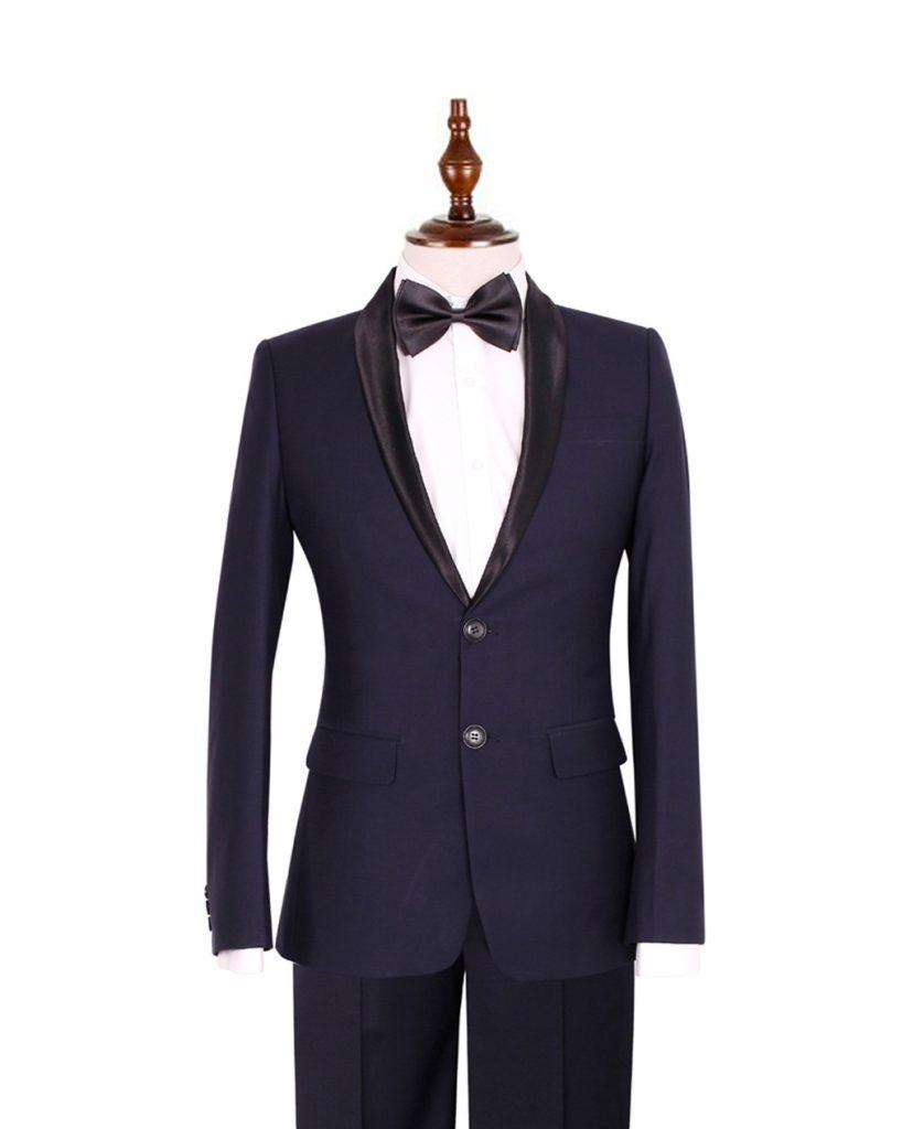 bộ vest nam xanh cổ sam