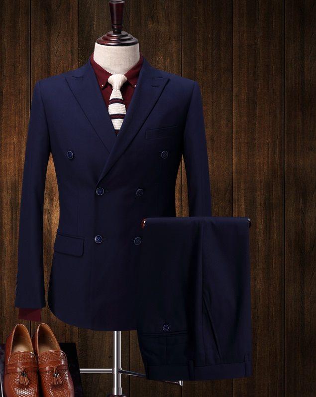 bộ vest nam xanh tím than 2 hàng khuy