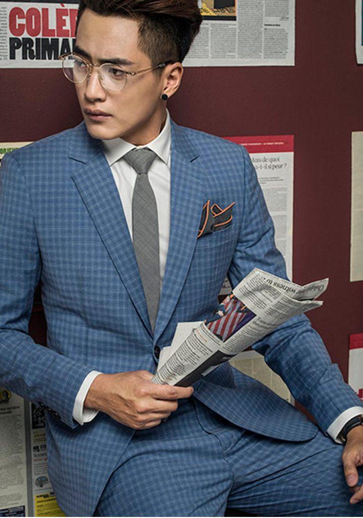 áo vest nam màu xanh caro