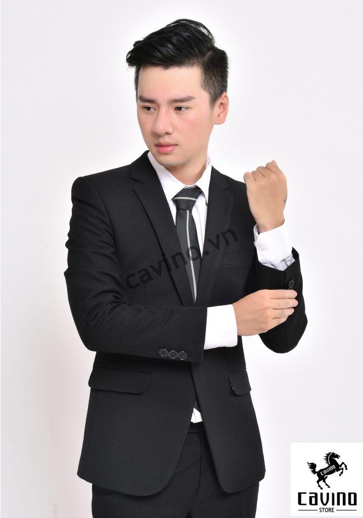 bộ vest đen 1 khuy
