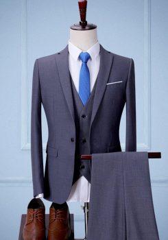 Bộ vest nam màu ghi tối cao cấp