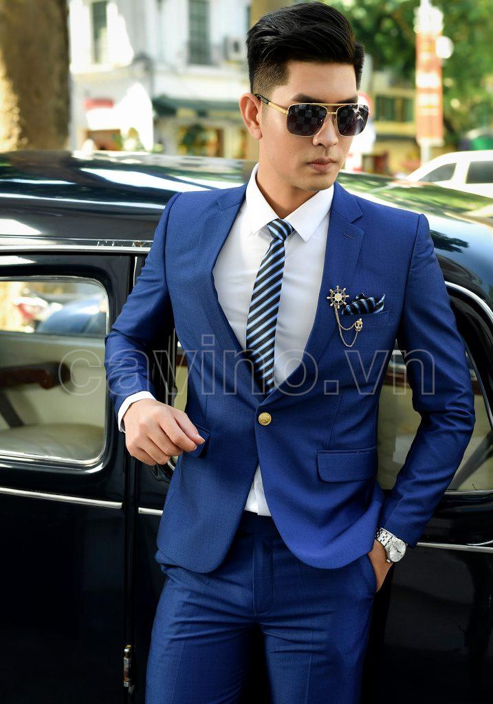 Áo vest nam xanh coban sáng bóng