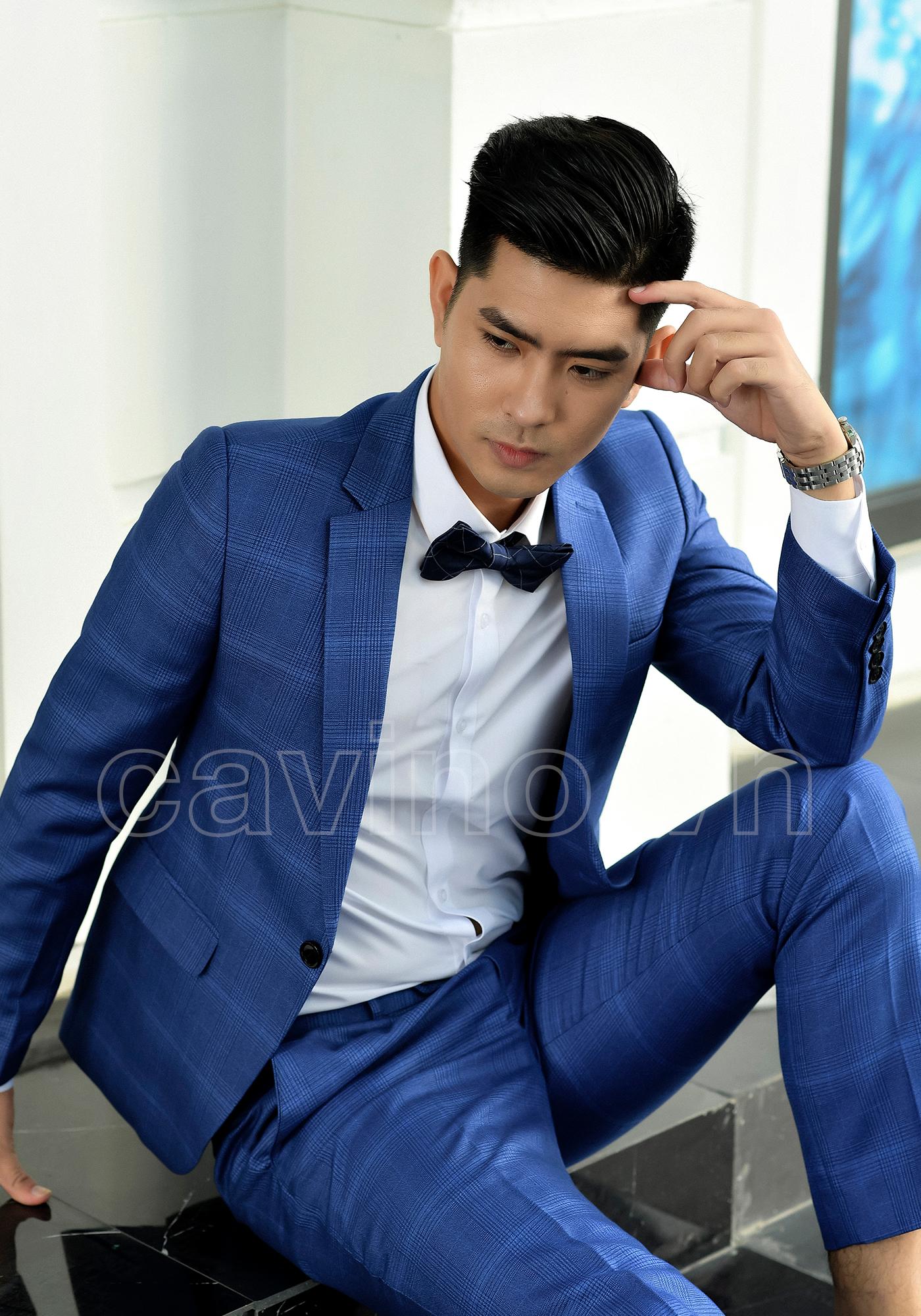 Áo vest nam xanh dương kẻ to