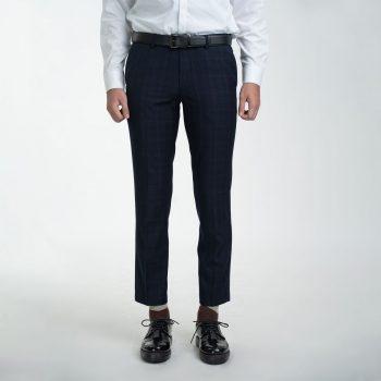 quần âu xanh tím than caro sáng