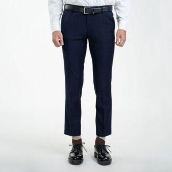 quần âu xanh tím than caro đậm