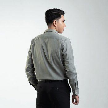 áo sơ ni nâu rêu kẻ tăm