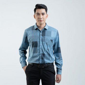 áo sơ mi xanh ô vuông 3d