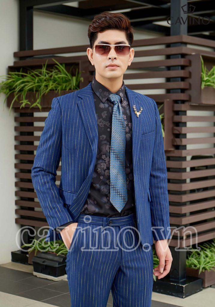 vest nam màu xanh kẻ chỉ vàng cao cấp 610