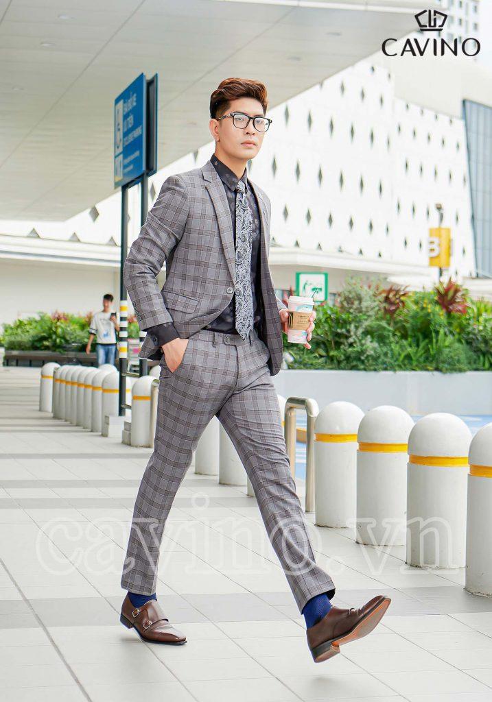 Bộ vest nam màu chì xám họa tiết cao cấp
