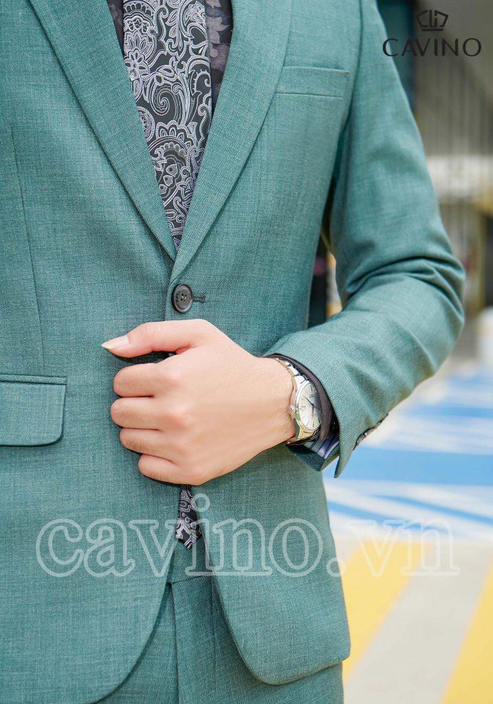 bộ vest nam màu xanh ngọc vân xước 614