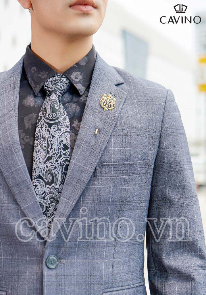 bộ vest nam màu xám bạc kẻ caro cao cấp