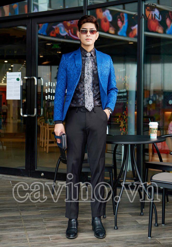 áo blazer blue sky họa tiết