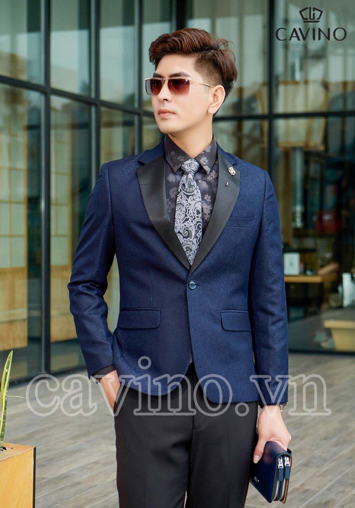 Áo blazer xanh than họa tiết cao cấp