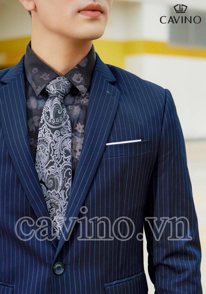 bộ vest nam màu xanh than họa tiết kẻ nhỏ
