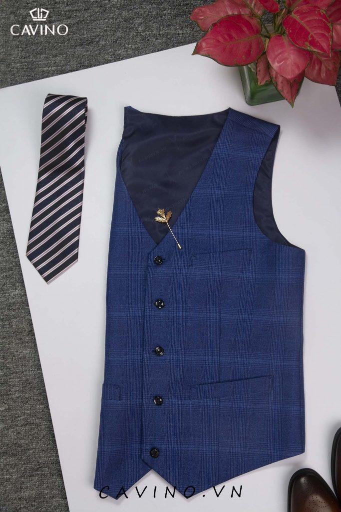 áo ghi-lê xanh dương kẻ hooja tiết