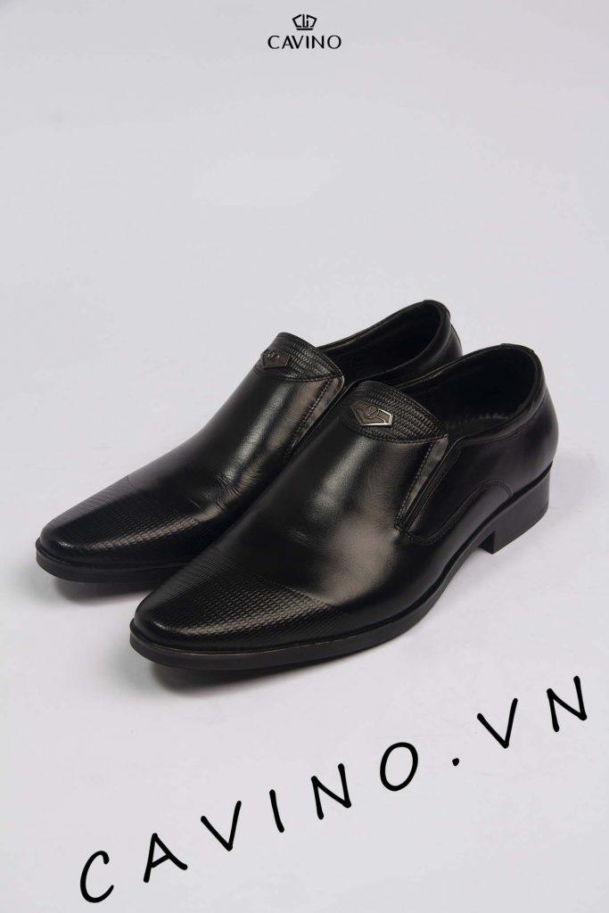 giày da đen họa tiết cao cấp g219