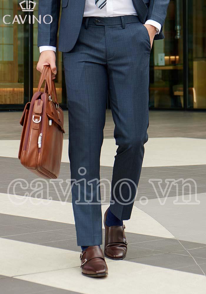 quần vest nam gray vân xước cáo cấp