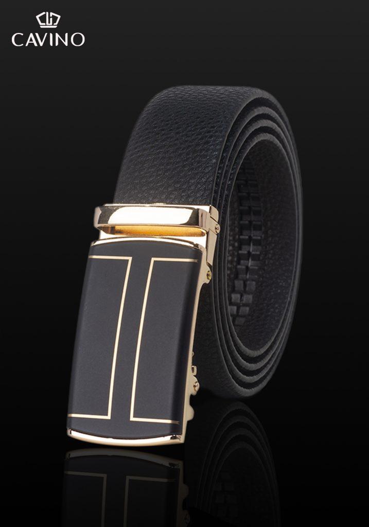 thắt lung dây đen nhám họa tiết gold